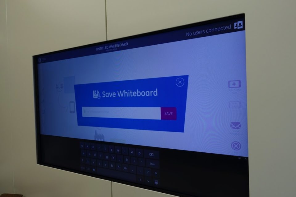 The tablet can be used to collaborate with others connecting to a whiteboard app